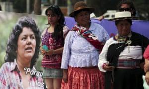 Women participate in a memorial service for Berta Cáceres during a protest to demand justice, in San Salvador, El Salvador.