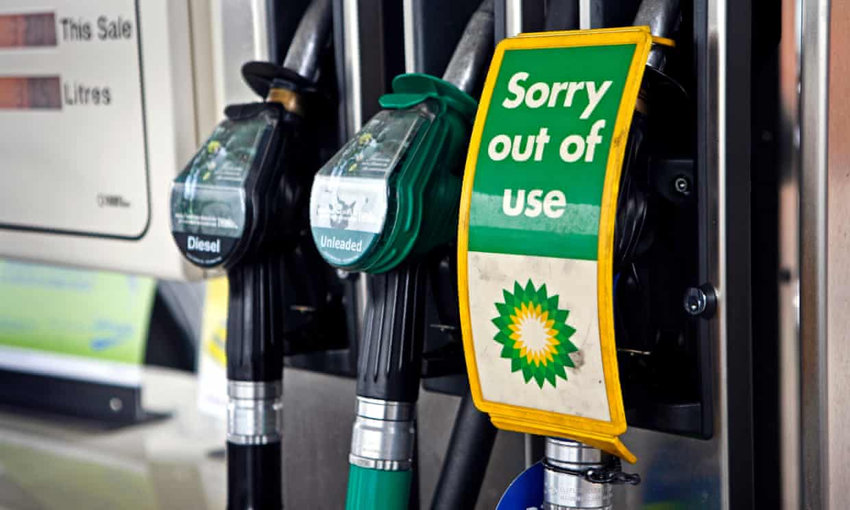 BP fuel pump with an 'out of use' sign on it