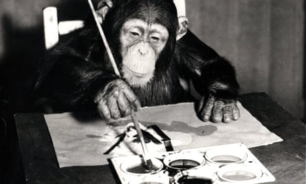 Congo painting a picture at London Zoo in 1958.