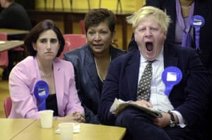 Johnson Boris Johnson yawns in the early hours after winning the Henley seat for the Conservatives in 2001.