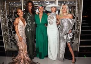 Los Angeles, US Jada Pinkett, Michelle Obama, Alicia Keys, Jennifer Lopez, and Lady Gaga meet backstage during the Grammy Awards in California