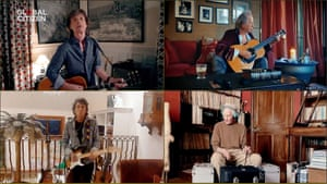 The Rolling Stones performing in the charity event One World: Together at Home.