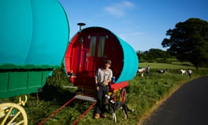 Travellers at an overnight camp in Cumbria.
