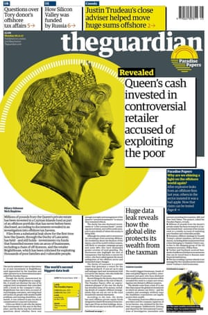 Front page of the Guardian, 6 November 2017.