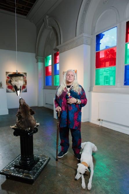 Genesis P Orridge amid an exhibition of her work at Summerhall, Edinburgh, 2014.