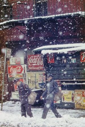 Mail shot … Postmen, 1952, by Saul Leiter