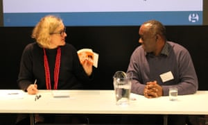 Alex Wheatle discusses his novel Straight Outta Crongton, with Guardian books editor Claire Armitstead, at Reading for pleasure, 23 March 2017