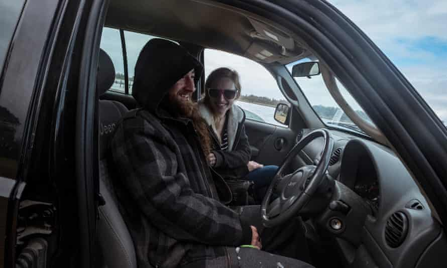 Mick and Marnie in their car at one of Lakes Entrance's beaches.