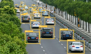 Machine learning analytics identify vehicles technology , Artificial intelligence concept. Software ui analytics and recognition cars vehicles in city