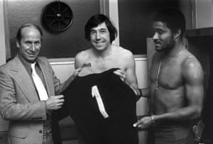 In December 1973 Stoke City put on a testimonial for Banks which featured stars such as Bobby Charlton, left, and Eusebio