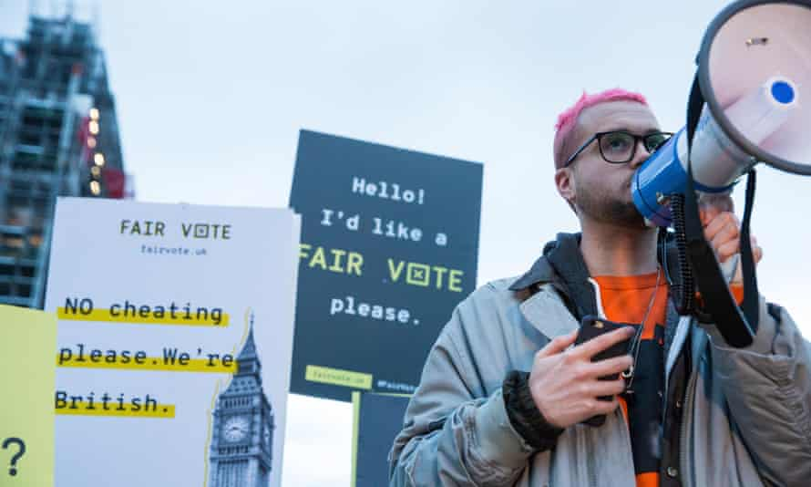 Cambridge Analytica whistleblower Christopher Wylie addresses a rally in Parliament Square organised by the Fair Vote Project.