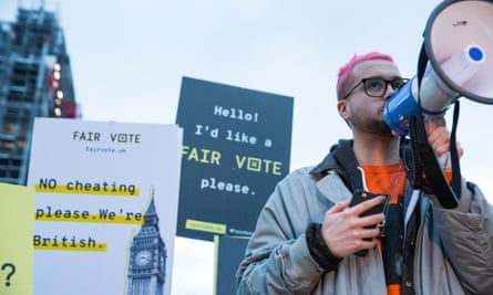 Whistleblower Christopher Wylie addresses a rally in London's Parliament Square organised by the Fair Vote Project, 29 March 2018.