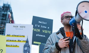 Cambridge Analytica whistleblower Christopher Wylie addresses a rally in London's Parliament Square organised by the Fair Vote Project, which was set up to support whistleblowers and to ensure that evidence of unfair voting is exposed.