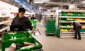 Waitrose warehouse where pickers collect items for online shoppers.