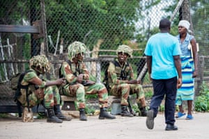 Soldiers at entry points into the city of Bulawayo.