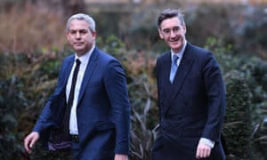 Stephen Barclay (left) and Jacob Rees-Mogg arriving at Downing Street together.