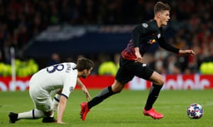 Patrik Schick leaves Harry Winks on the ground during what was a relentless RB Leipzig performance.