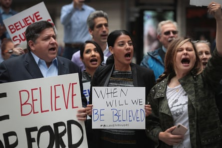 Activists demonstrate against supreme court nominee Brett Kavanaugh in Chicago