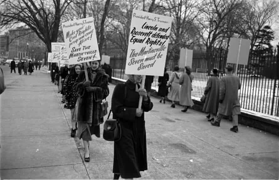 Martinsville Seven ProtestPeople with placards protesting against the Martinsville Seven convicted for rape, Martinsville, Virginia, 1951 (Photo by Mark Kauffman/The LIFE Picture Collection via Getty Images)