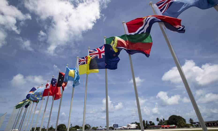 National flags for the Pacific Islands Forum on display on Nauru.