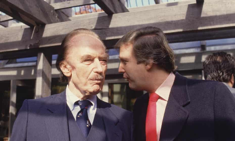 Trump talks to his father, real estate developer Fred C Trump, in the 1980s.