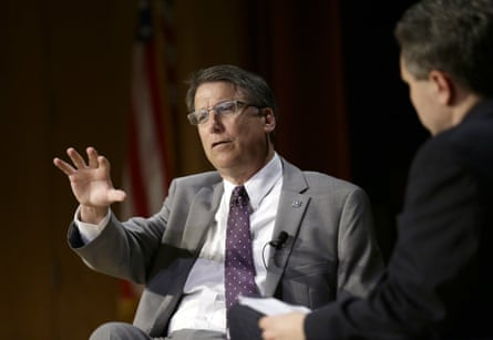 Governor Pat McCrory make remarks about HB2 while speaking during a government affairs conference in Raleigh.
