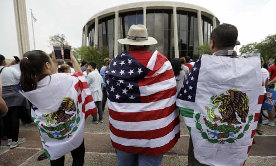 Protesters takes part in a rally to oppose a new Texas 'sanctuary cities' bill that aligns with the president's tougher stance on illegal immigration on 26 June 2017 in San Antonio, Texas.