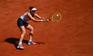 Barbora Krejcikova hits a return.