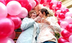 A gay couple celebrate their civil partnership in 2004.