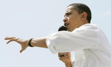 Obama speaks in Iowa City in 2007.