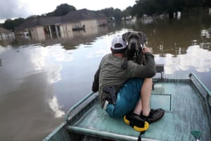 Travis Guedry and his dog Ziggy glide through floodwaters looking for people in need in Sorrento, Louisiana