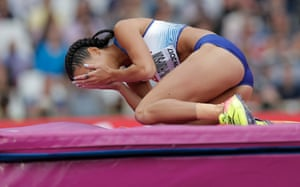 Dejection for Katarina Johnson-Thompson as she fails to clear a crucial height in the high jump during the women's heptathlon.