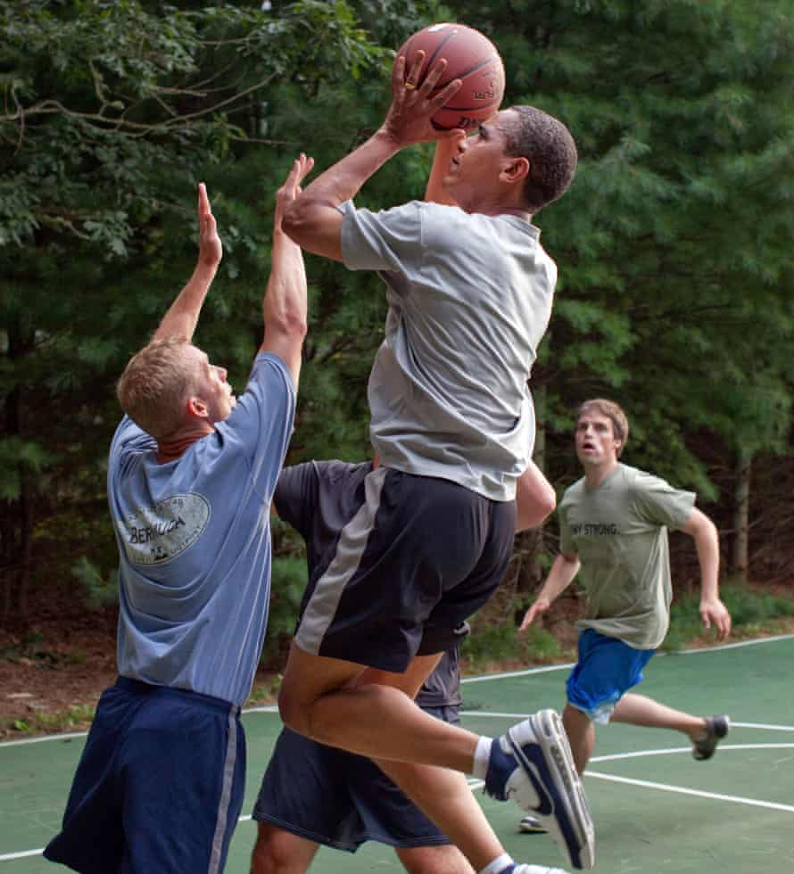 President Barack Obama plays basketball with White House staffers while on vacation on Martha's Vineyard, Aug. 26, 2009