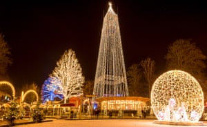 Golden town: Christmas market in Aarhus, Jutland, Denmark.
