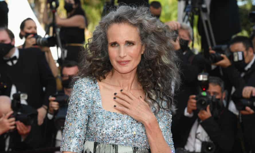 Andie MacDowell wore her curly hair loose to attend the screening of Annette at the Cannes film festival.