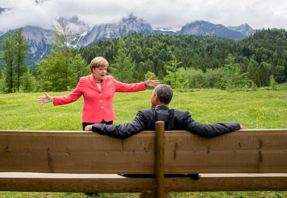 German Chancellor Angela Merkel talks to US President Barack Obama at Elmau Castle