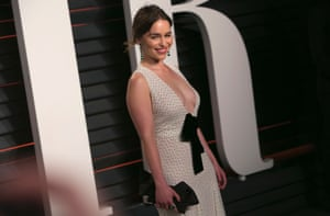 British actress Emilia Clarke arriving at the Vanity Fair Oscar Party