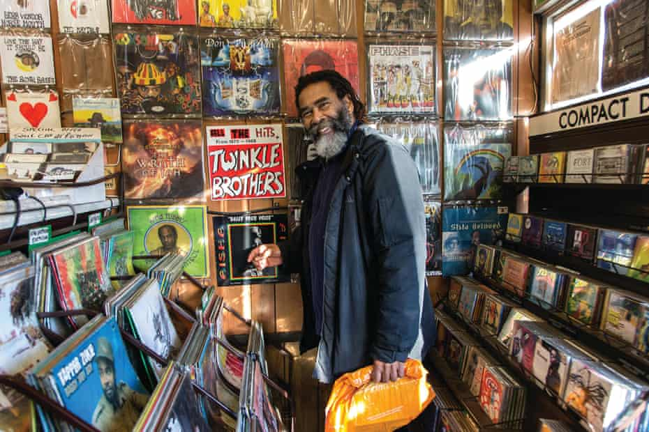 Norman Grant, leader of the Twinkle Brothers, browsing at Supertone Records