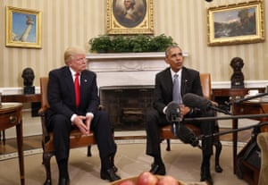 President Barack Obama meets with President-elect Donald Trump in the Oval Office of the White House.