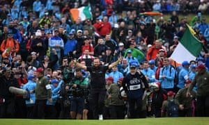 Ireland's Shane Lowry celebrates during the final round of the 148th Open Championship