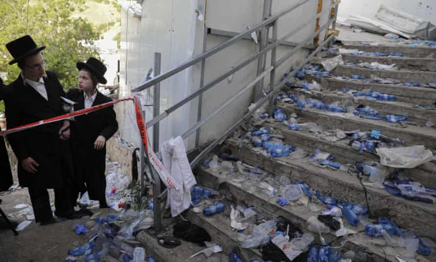 The scene at Mt. Meron after a crowd crush at a religious festival attended by tens of thousands of ultra-Orthodox Jews