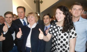 Elliott Johnson with Jane Hunt, Conservative candidate for South Nottingham, and David Cameron.