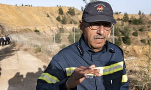 Cyprus fire chief, Marcos Trangolas, speaks at the Red Lake near the village of Mitsero.