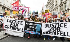 A Justice for Grenfell march in Regent Street