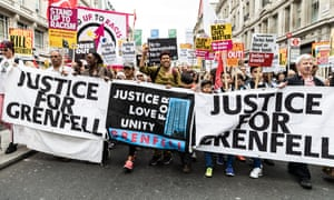 The Justice for Grenfell movement makes its way down Regent Street on Saturday.
