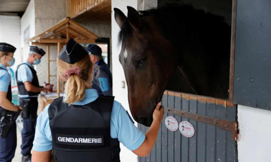 French gendarmes at an equestrian club in Grand-Laviers, 10 September 2020.