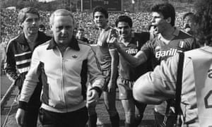 European Cup Semi Final, Roma 3-0 Dundee United (agg 3-2), 25 April 1984 JIM MCLEAN DUNDEE ROMA McLean was attacked by Roma players and officials, the majority of punches absorbed by John Gardiner, the reserve goalie, and Walter Smith, his famously tidy assistant [there are famous and brilliant photos of Di Bartolomei giving McLean the finger.