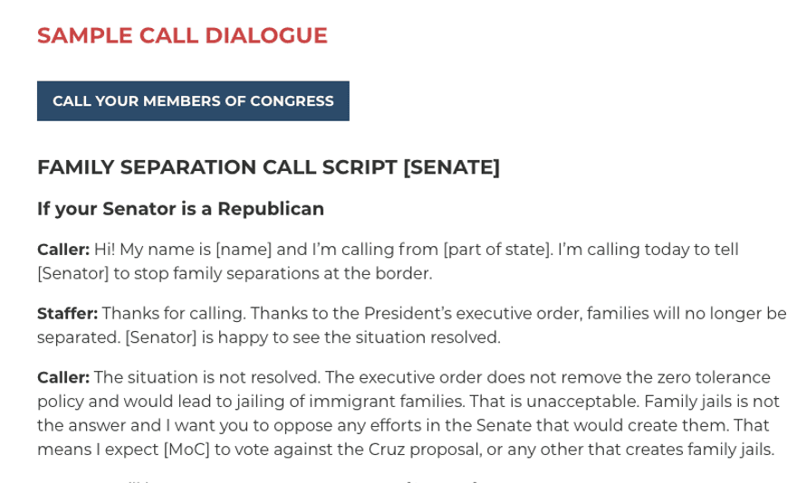 Sample call script from Indivisible