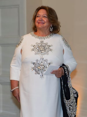 Hancock Prospecting chairwoman Georgina Rinehart arrives for the state dinner.