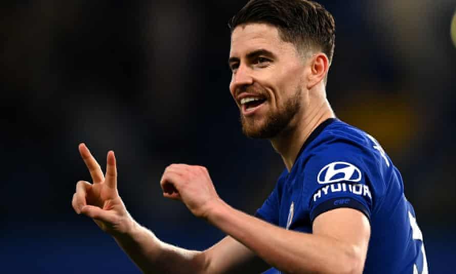 Jorginho celebrates after his penalty put Chelsea 2-0 up against Leicester